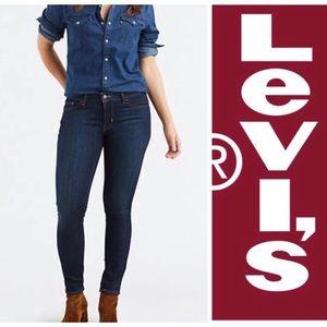 Levi's Mid Rise Skinny Dark Blue Jeans